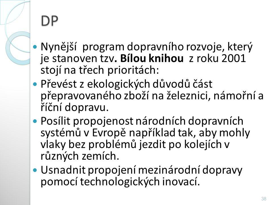 DP Nynější program dopravního rozvoje, který je stanoven tzv. Bílou knihou z roku 2001 stojí na třech prioritách: