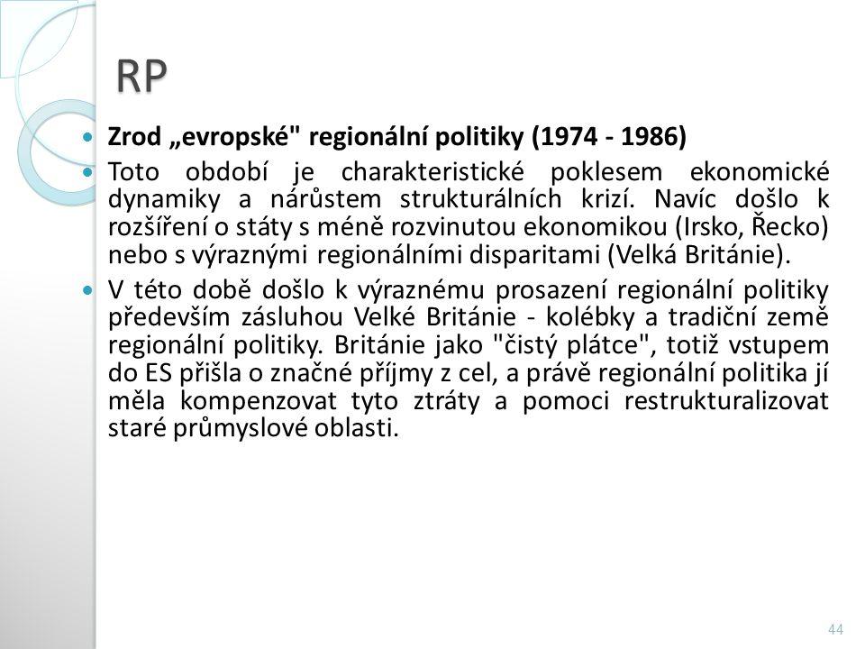 """RP Zrod """"evropské regionální politiky (1974 - 1986)"""