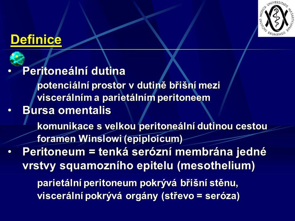 Definice Peritoneální dutina. potenciální prostor v dutině břišní mezi viscerálním a parietálním peritoneem.