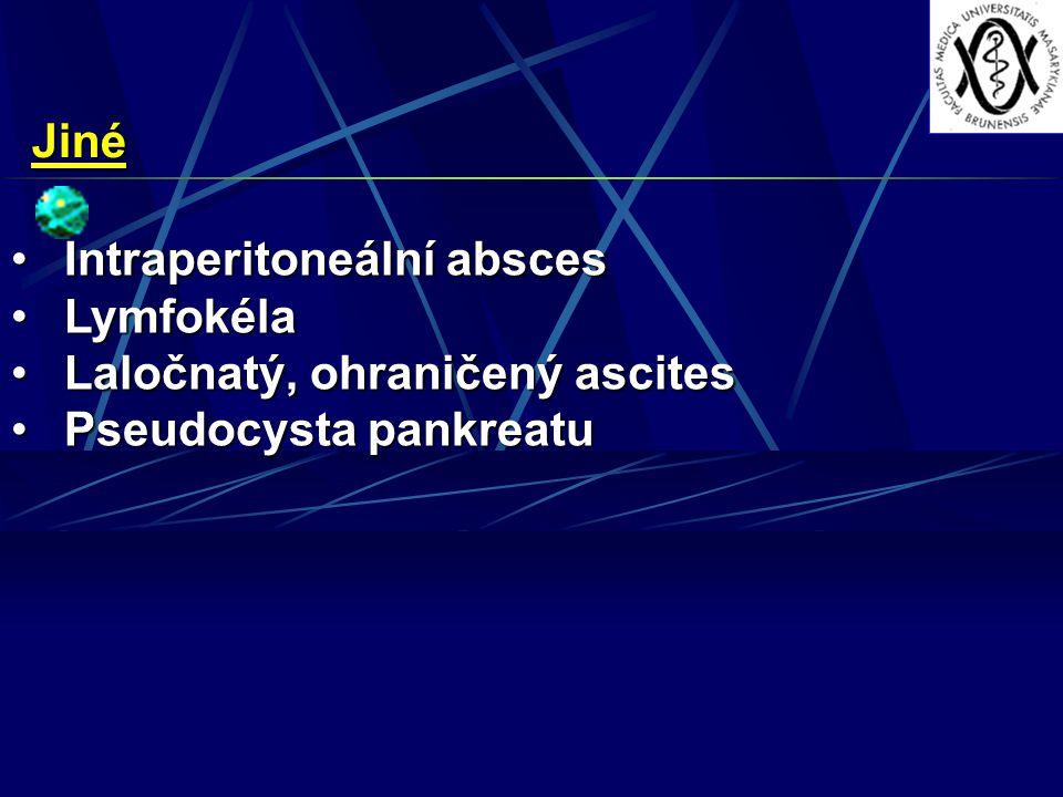 Jiné Intraperitoneální absces Lymfokéla Laločnatý, ohraničený ascites Pseudocysta pankreatu