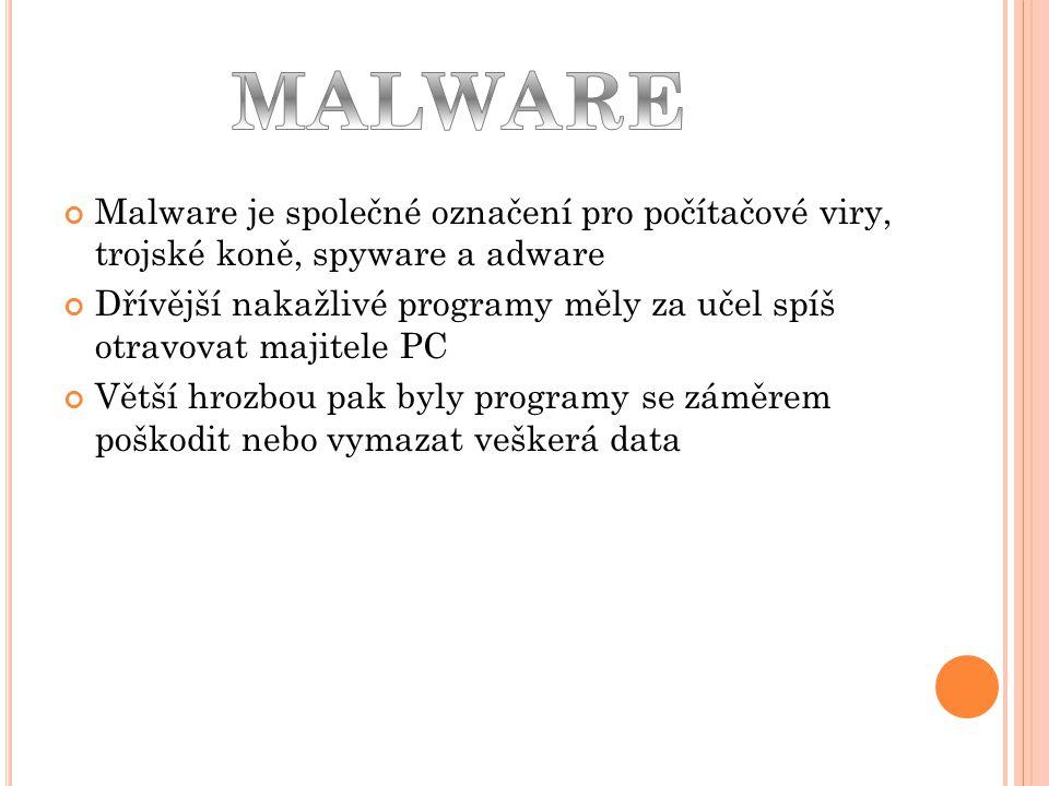 MALWARE Malware je společné označení pro počítačové viry, trojské koně, spyware a adware.