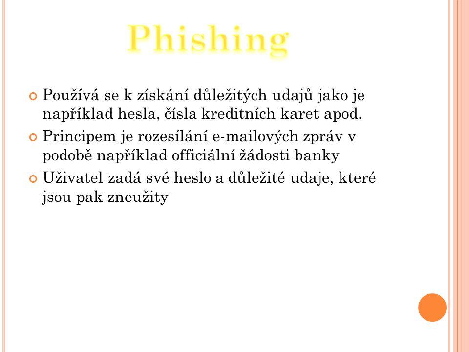 Phishing Používá se k získání důležitých udajů jako je například hesla, čísla kreditních karet apod.