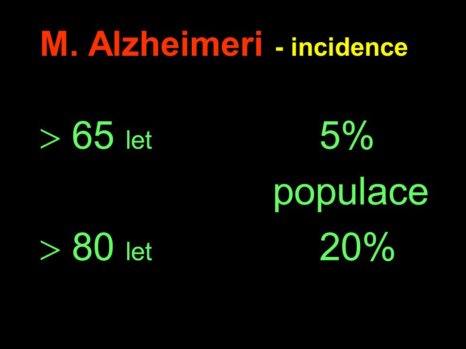 M. Alzheimeri - incidence