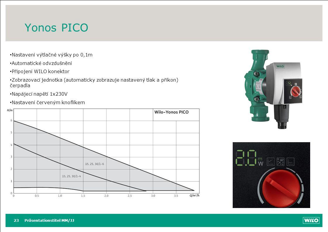 Yonos PICO Nastavení výtlačné výšky po 0,1m Automatické odvzdušnění