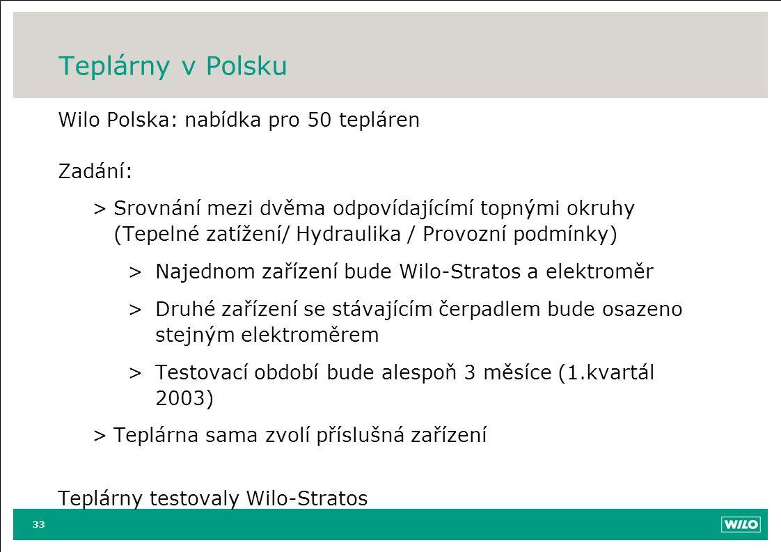 Teplárny v Polsku Wilo Polska: nabídka pro 50 tepláren Zadání: