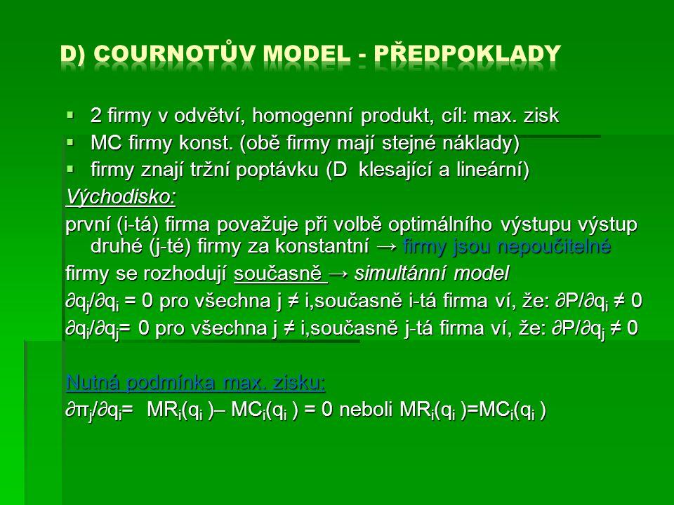 d) Cournotův model - předpoklady