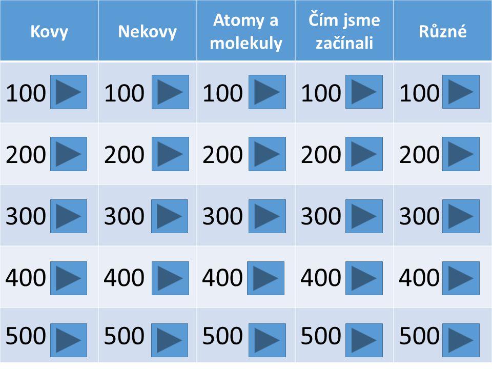 100 200 300 400 500 Kovy Nekovy Atomy a molekuly Čím jsme začínali