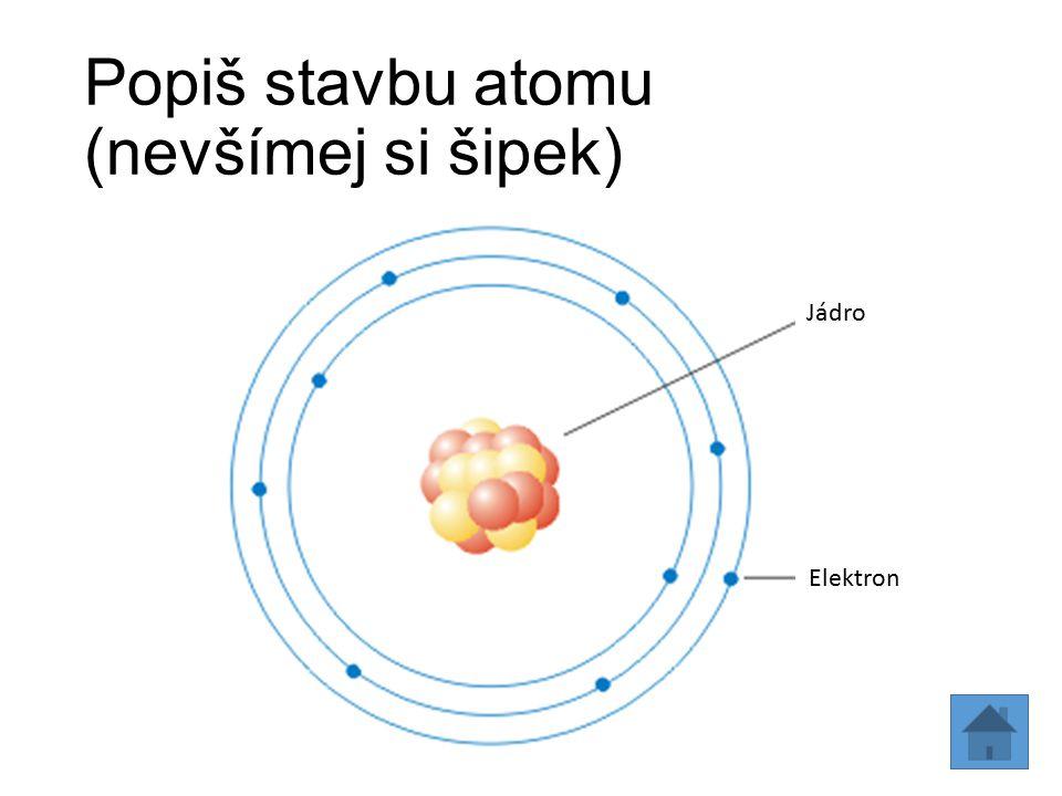 Popiš stavbu atomu (nevšímej si šipek)