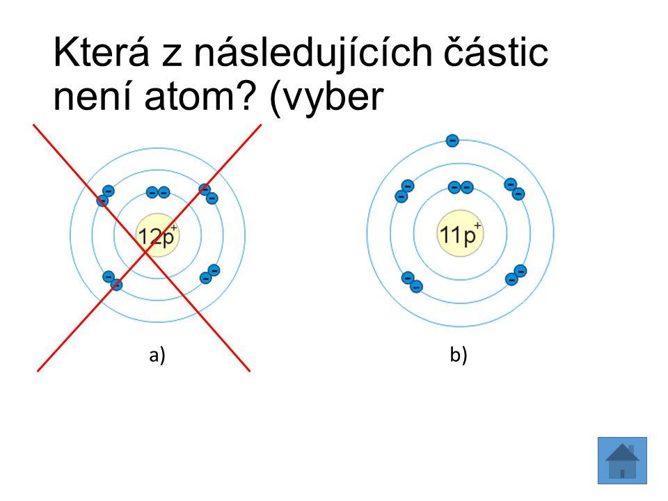 Která z následujících částic není atom (vyber