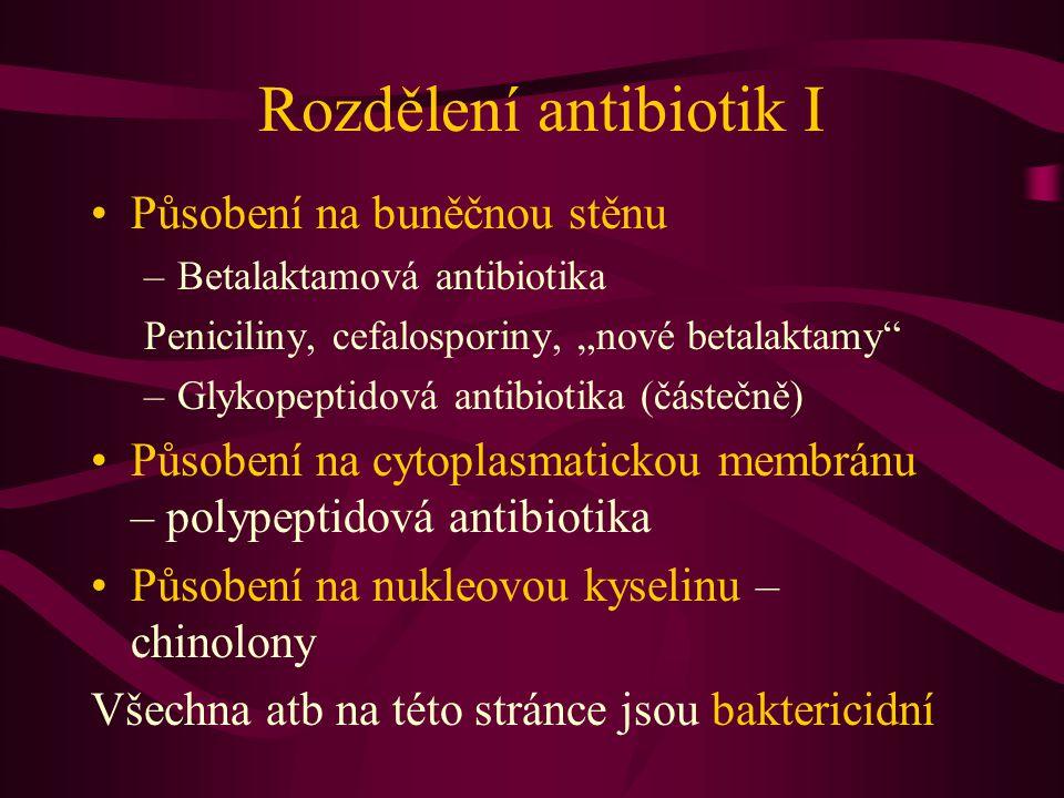 Rozdělení antibiotik I