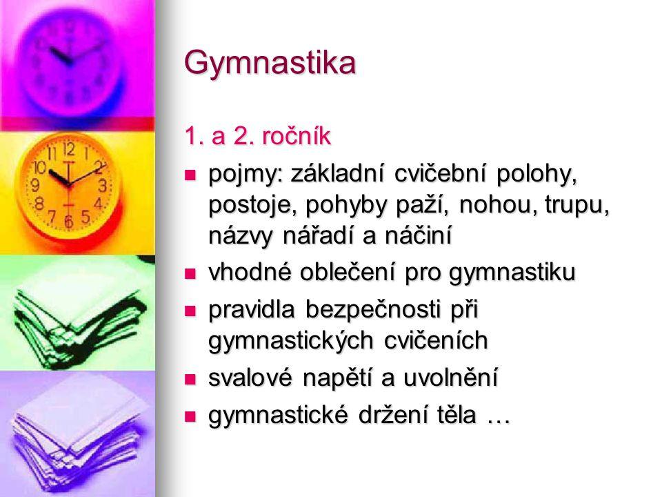 Gymnastika 1. a 2. ročník. pojmy: základní cvičební polohy, postoje, pohyby paží, nohou, trupu, názvy nářadí a náčiní.
