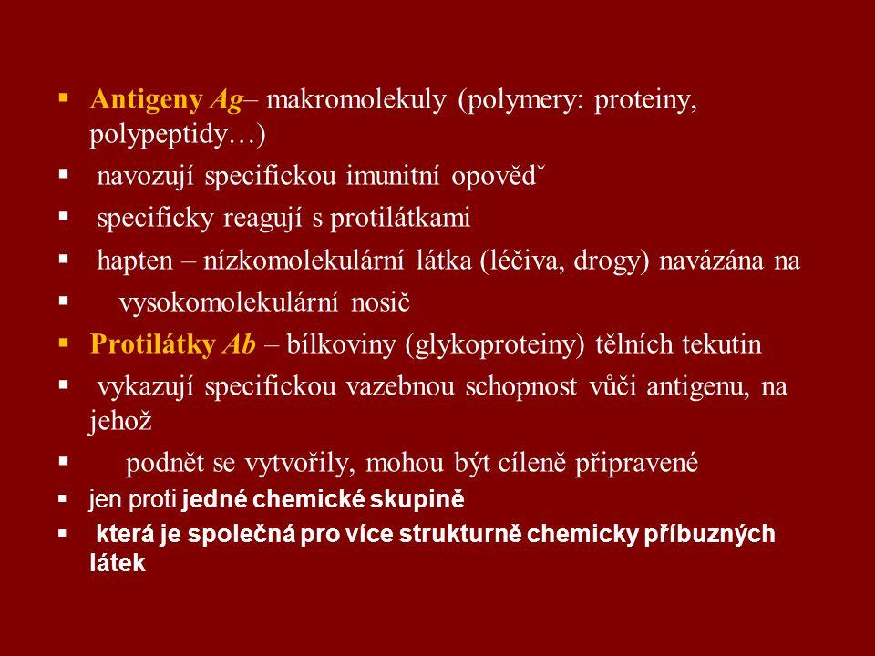 Antigeny Ag– makromolekuly (polymery: proteiny, polypeptidy…)