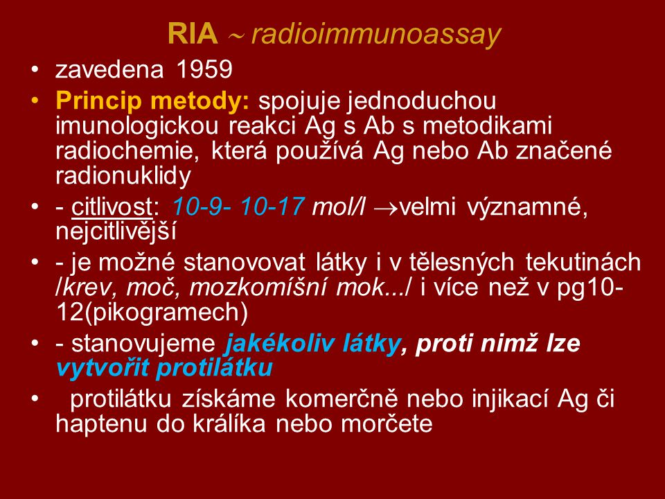 RIA  radioimmunoassay
