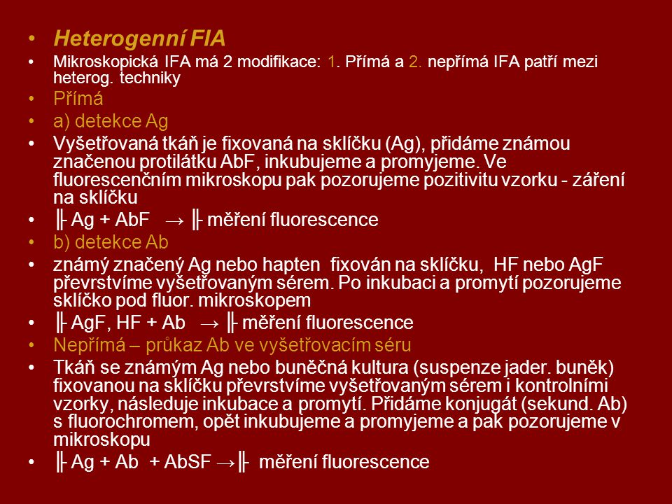 Heterogenní FIA Přímá a) detekce Ag
