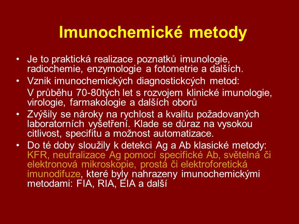 Imunochemické metody Je to praktická realizace poznatků imunologie, radiochemie, enzymologie a fotometrie a dalších.