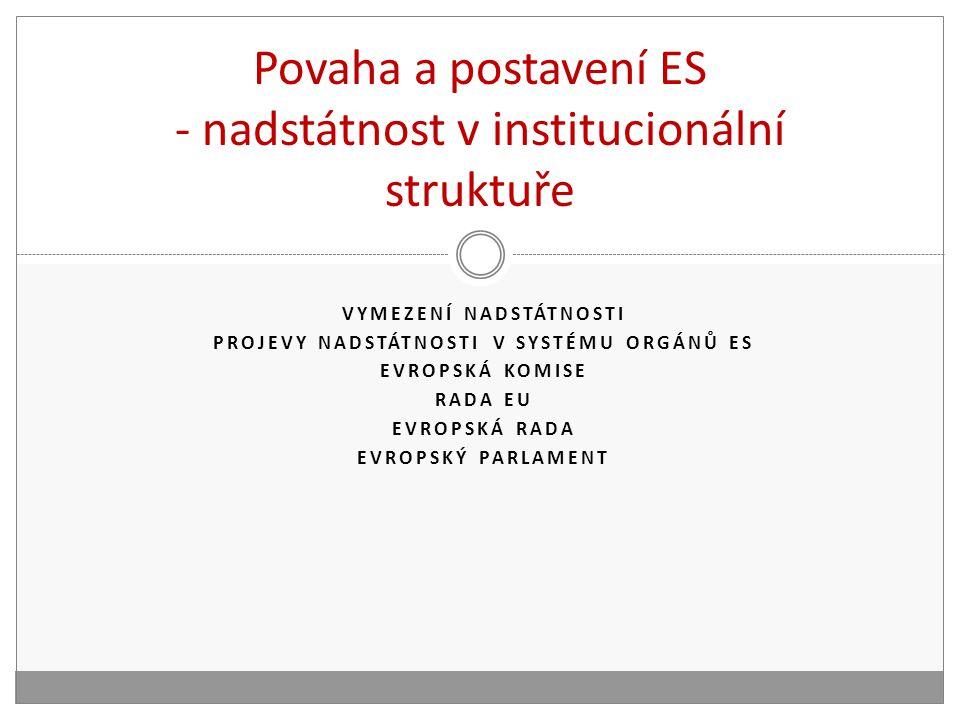 Povaha a postavení ES - nadstátnost v institucionální struktuře