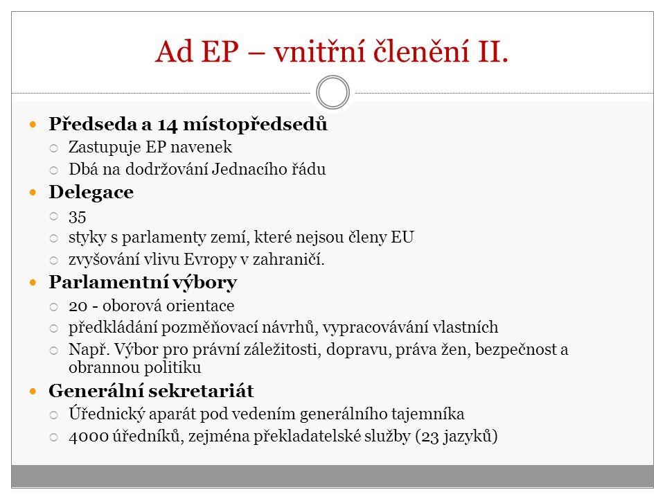 Ad EP – vnitřní členění II.
