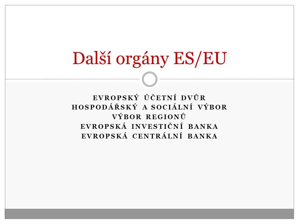 Další orgány ES/EU EVROPSKÝ ÚČETNÍ DVŮR HOSPODÁŘSKÝ A SOCIÁLNÍ VÝBOR
