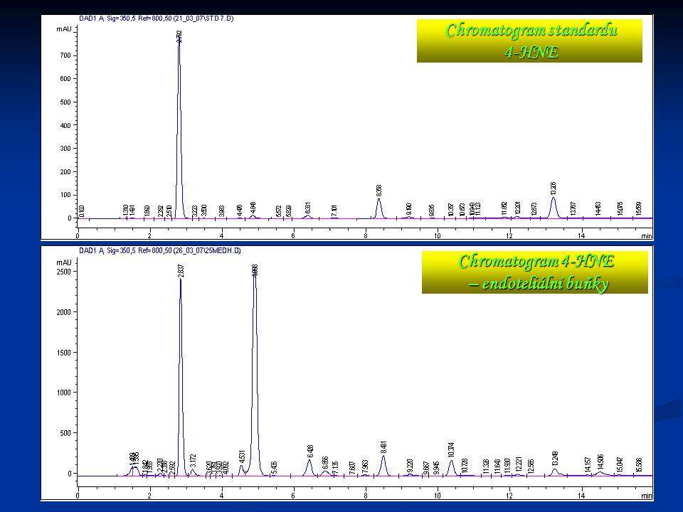 Chromatogram standardu 4-HNE Chromatogram 4-HNE – endoteliální buňky