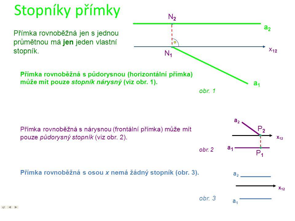 Stopníky přímky N2. a2. Přímka rovnoběžná jen s jednou průmětnou má jen jeden vlastní stopník. x12.