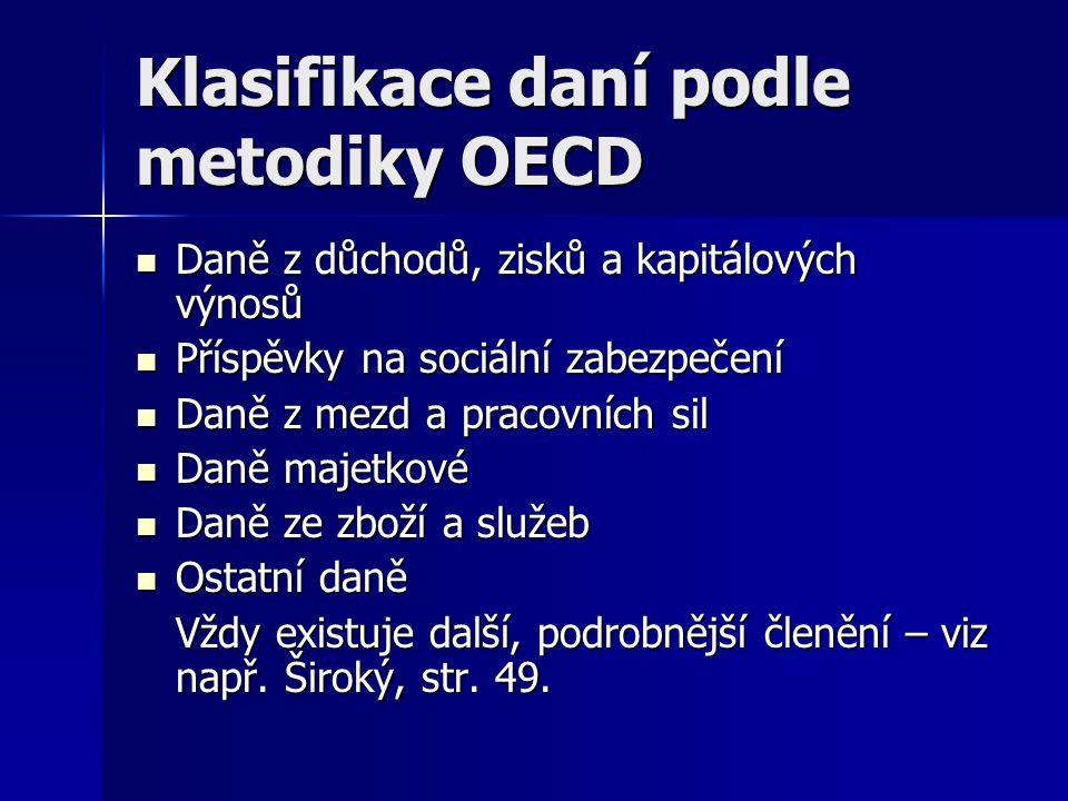 Klasifikace daní podle metodiky OECD