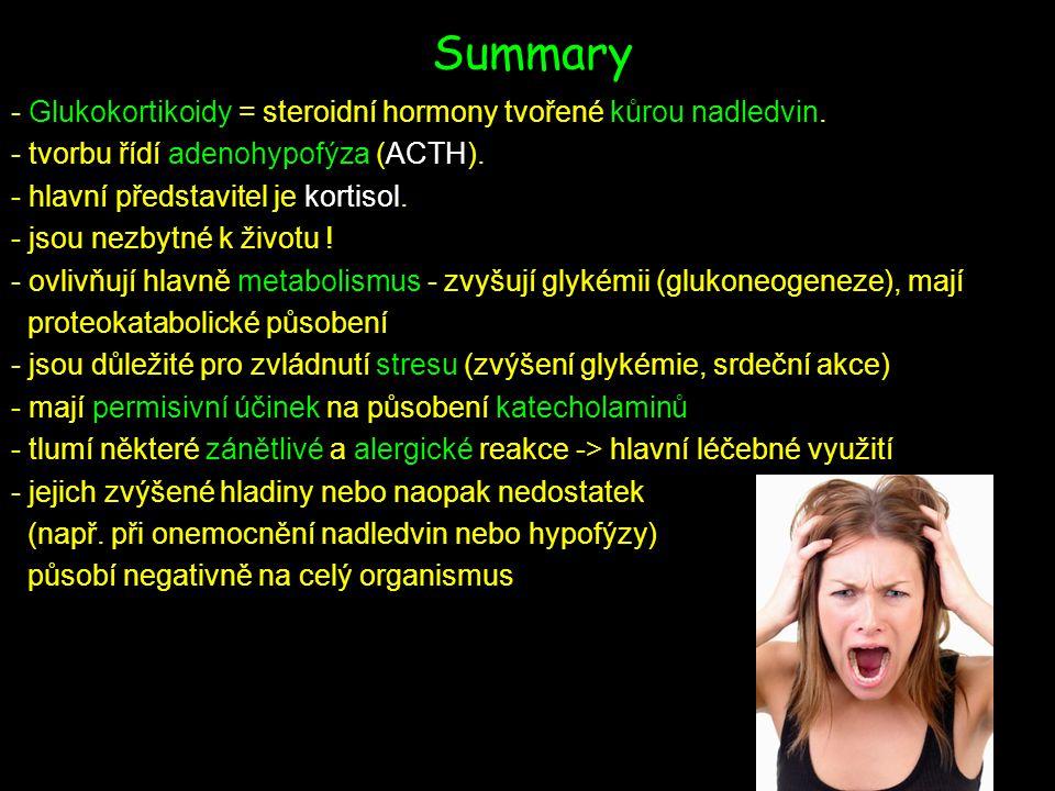 Summary Glukokortikoidy = steroidní hormony tvořené kůrou nadledvin.