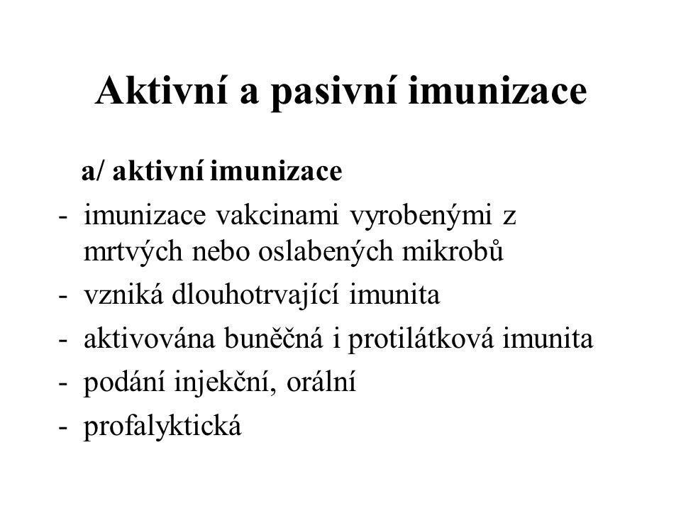 Aktivní a pasivní imunizace