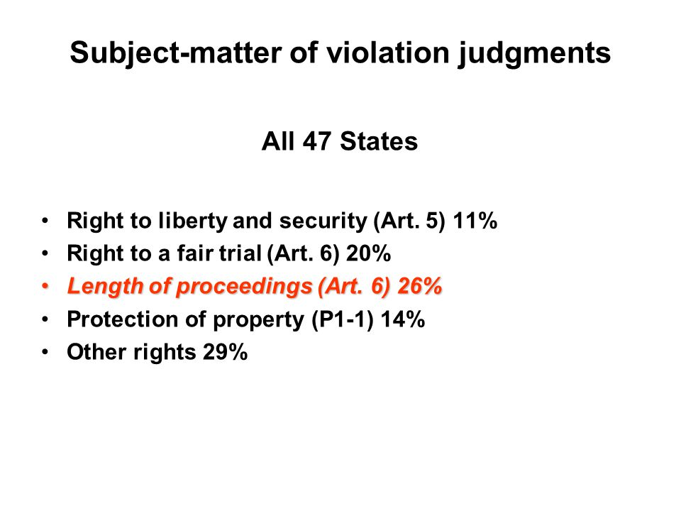 Subject-matter of violation judgments