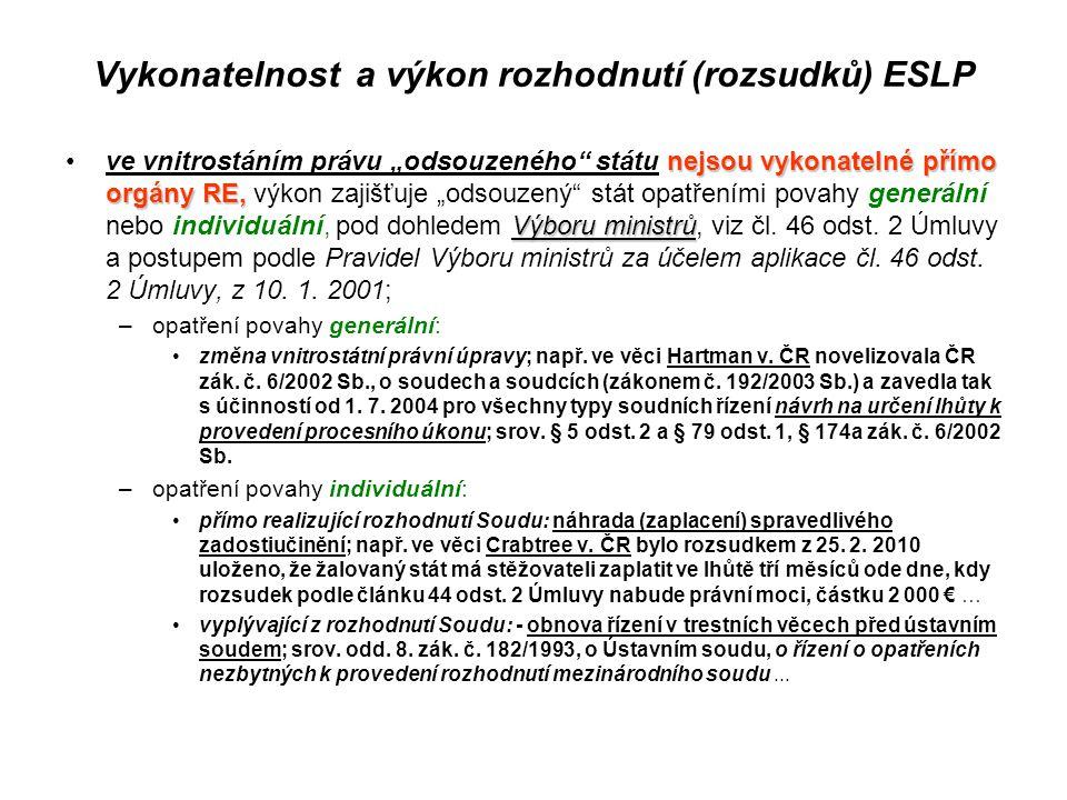 Vykonatelnost a výkon rozhodnutí (rozsudků) ESLP