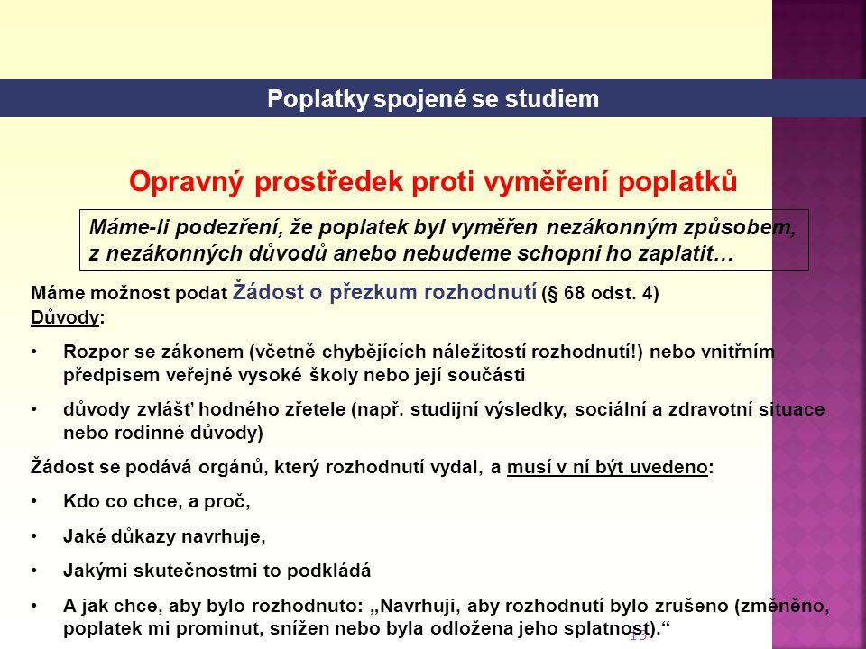Poplatky spojené se studiem Opravný prostředek proti vyměření poplatků