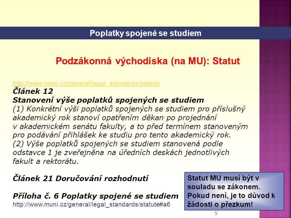 Poplatky spojené se studiem Podzákonná východiska (na MU): Statut