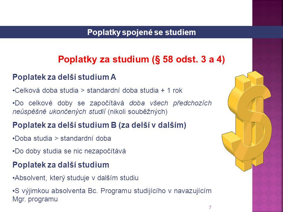Poplatky spojené se studiem Poplatky za studium (§ 58 odst. 3 a 4)