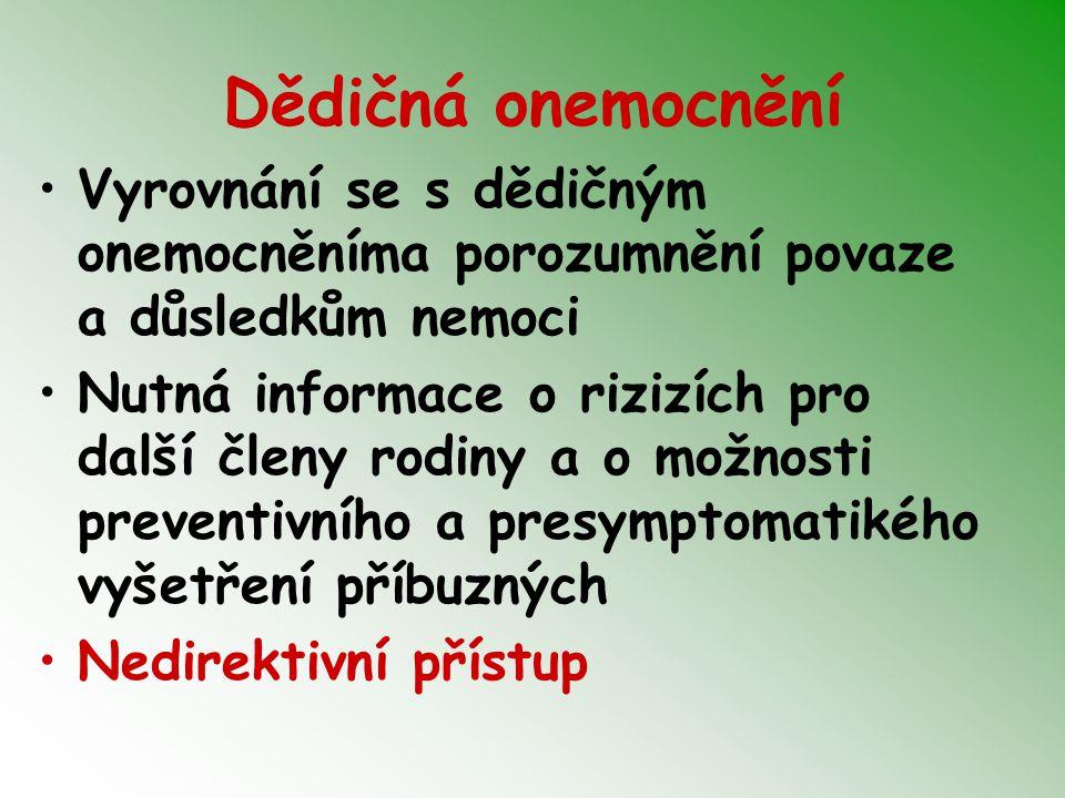 Dědičná onemocnění Vyrovnání se s dědičným onemocněníma porozumnění povaze a důsledkům nemoci.