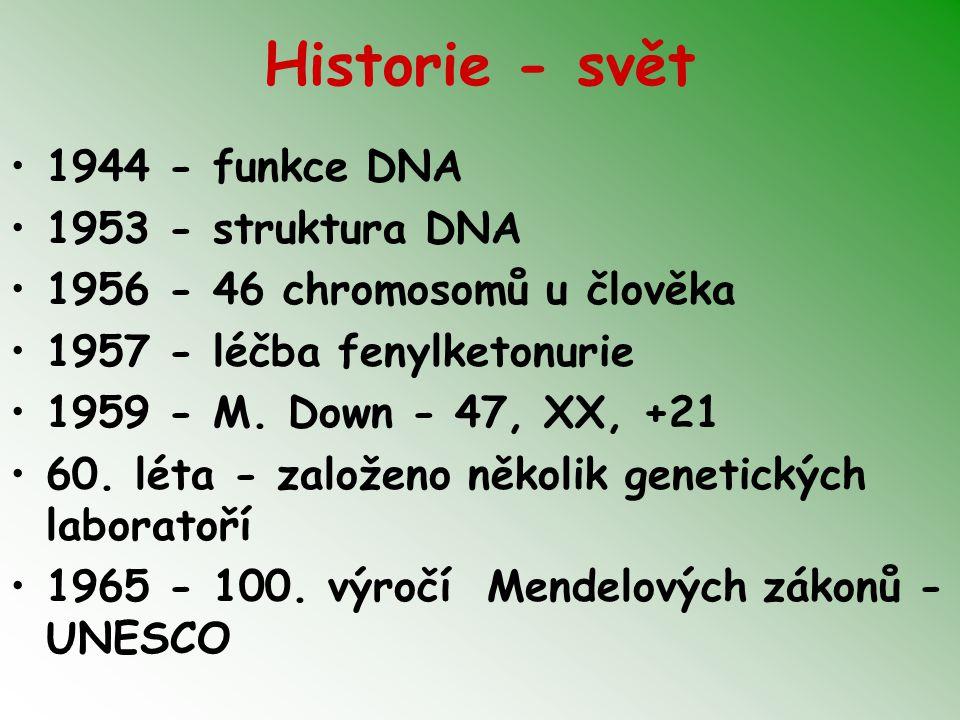 Historie - svět 1944 - funkce DNA 1953 - struktura DNA