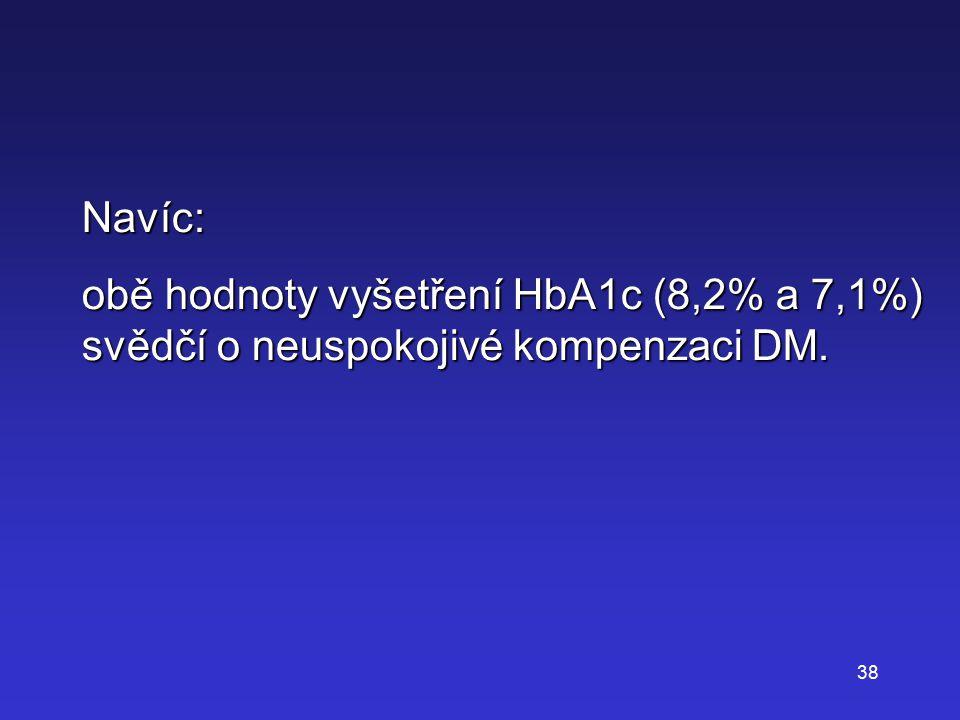 Navíc: obě hodnoty vyšetření HbA1c (8,2% a 7,1%) svědčí o neuspokojivé kompenzaci DM.