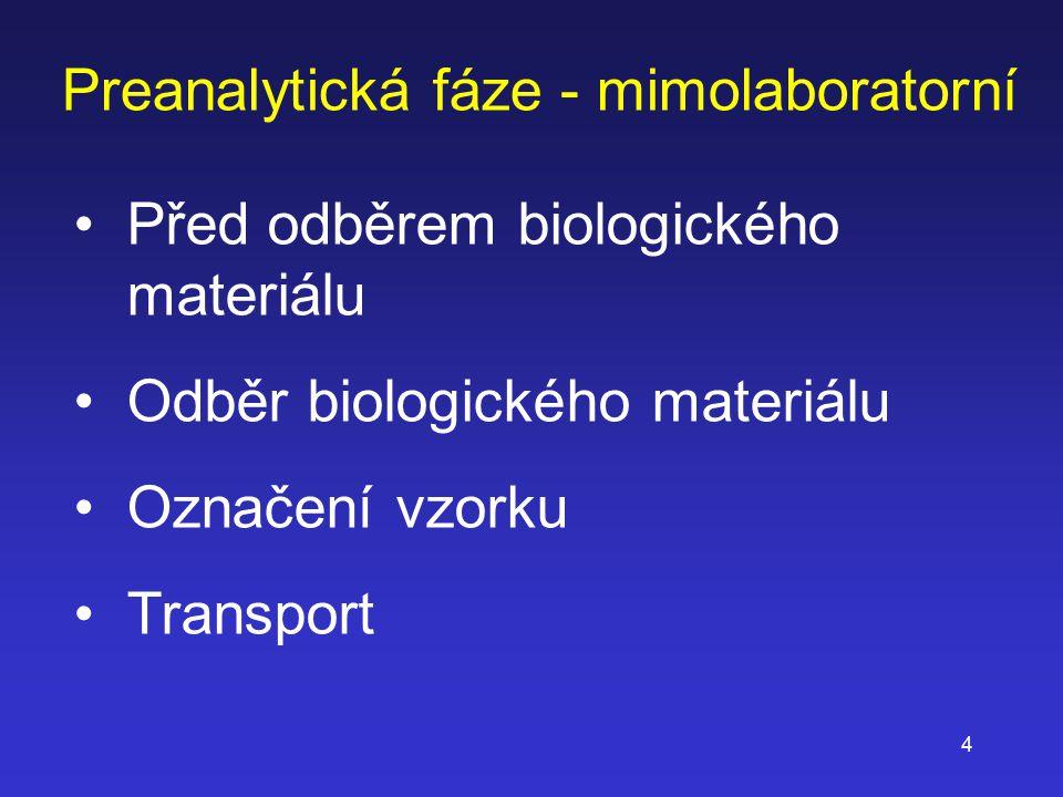 Preanalytická fáze - mimolaboratorní