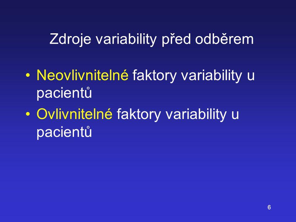 Zdroje variability před odběrem