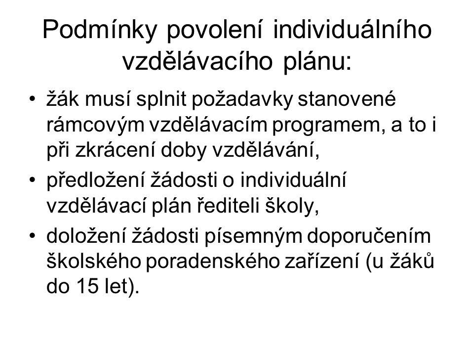 Podmínky povolení individuálního vzdělávacího plánu: