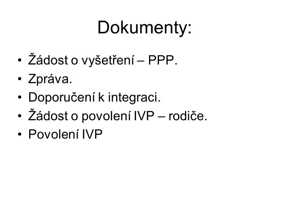 Dokumenty: Žádost o vyšetření – PPP. Zpráva. Doporučení k integraci.