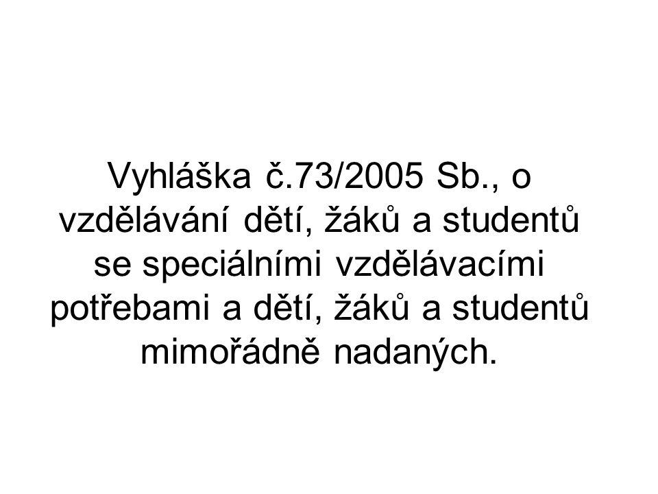Vyhláška č.73/2005 Sb., o vzdělávání dětí, žáků a studentů se speciálními vzdělávacími potřebami a dětí, žáků a studentů mimořádně nadaných.
