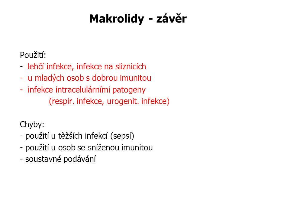 Makrolidy - závěr Použití: - lehčí infekce, infekce na sliznicích