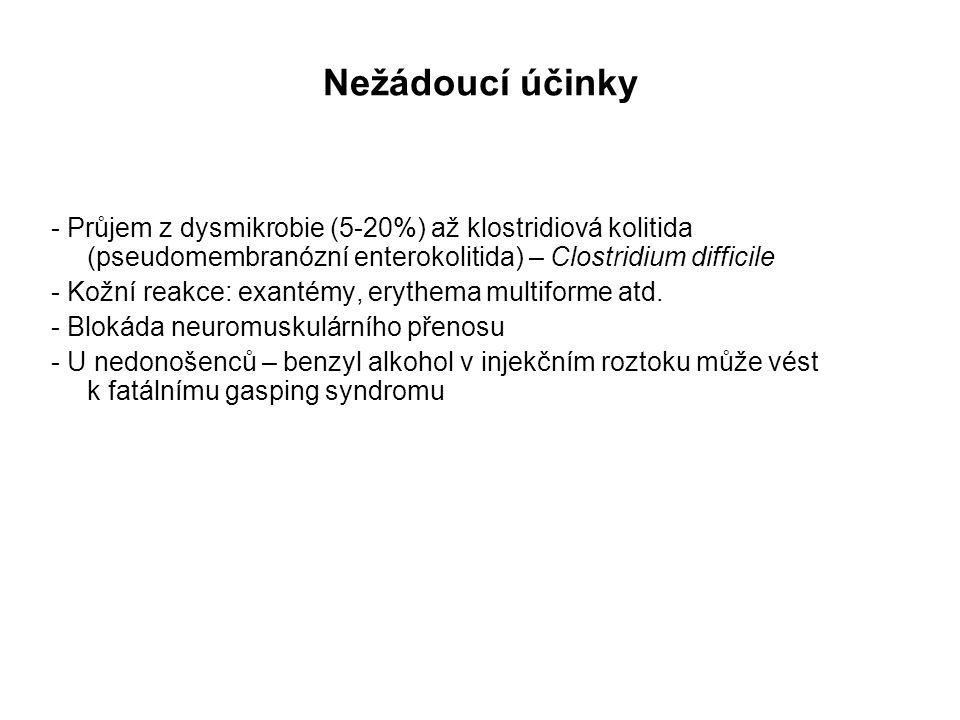 Nežádoucí účinky - Průjem z dysmikrobie (5-20%) až klostridiová kolitida (pseudomembranózní enterokolitida) – Clostridium difficile.