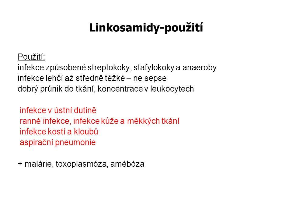 Linkosamidy-použití Použití: