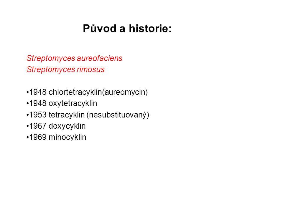 Původ a historie: Streptomyces aureofaciens Streptomyces rimosus