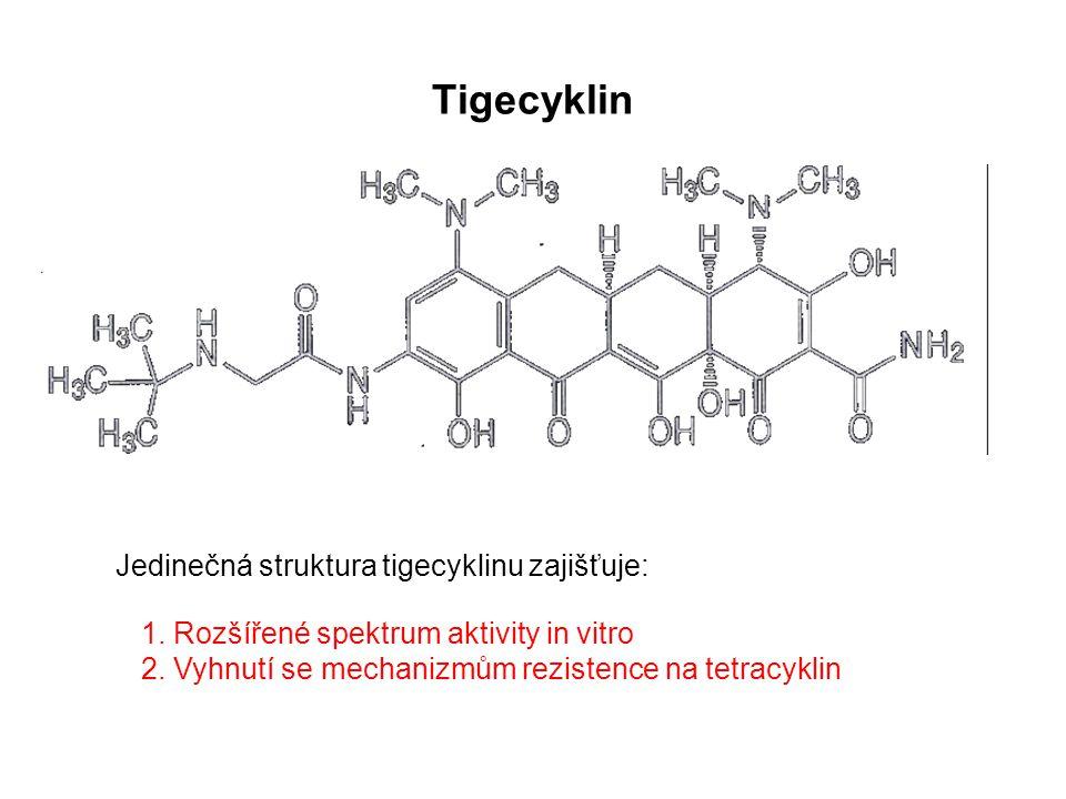 Tigecyklin Jedinečná struktura tigecyklinu zajišťuje: