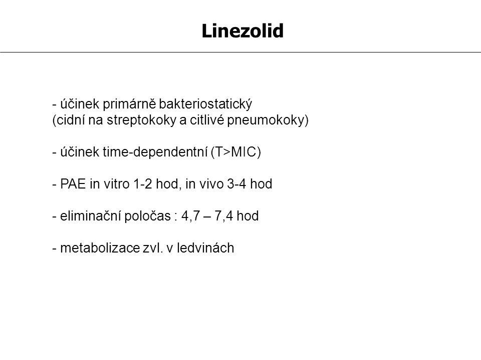 Linezolid - účinek primárně bakteriostatický