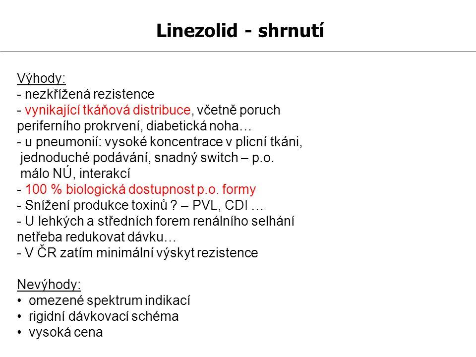 Linezolid - shrnutí Výhody: - nezkřížená rezistence