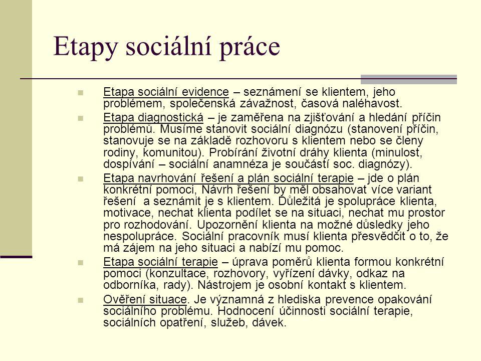 Etapy sociální práce Etapa sociální evidence – seznámení se klientem, jeho problémem, společenská závažnost, časová naléhavost.