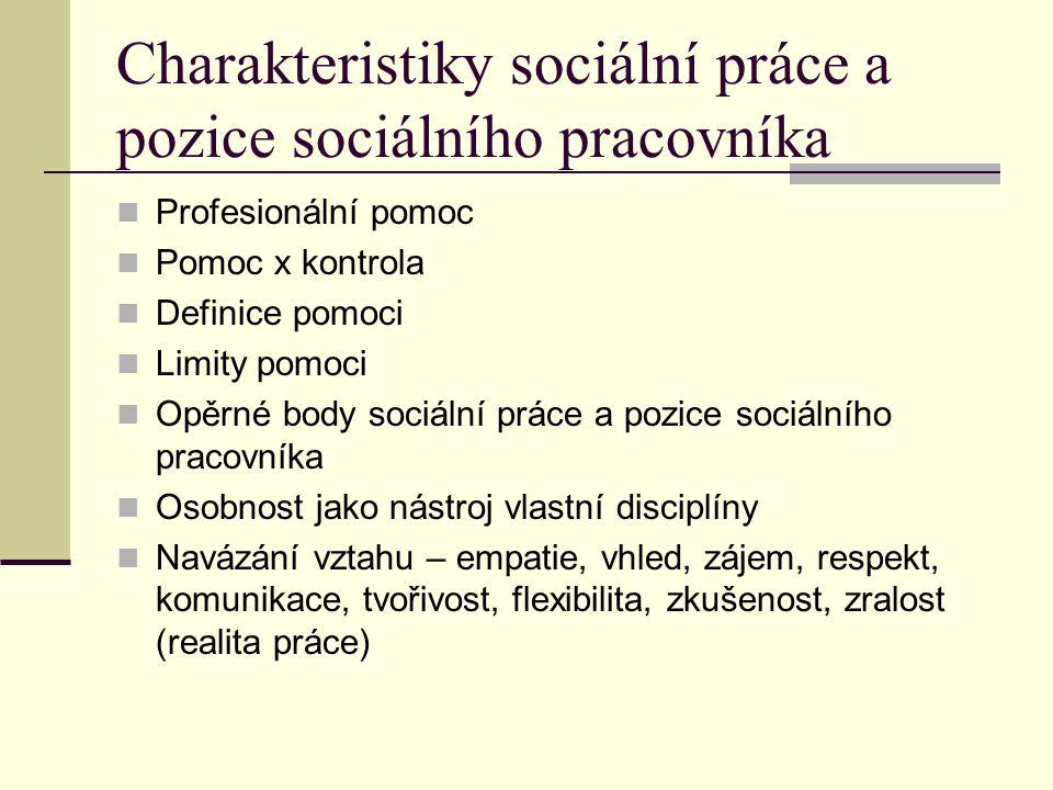 Charakteristiky sociální práce a pozice sociálního pracovníka
