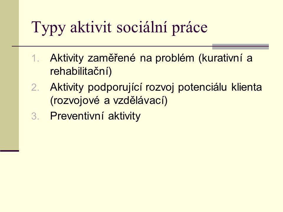 Typy aktivit sociální práce